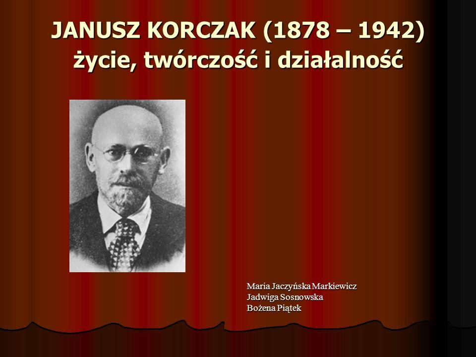 KORCZAK JAKO PEDAGOG, PSYCHOLOG ORAZ ORGANIZATOR OPIEKI NAD DZIECKIEM Korczak od 1912 roku aż do śmierci w 1942 roku pełnił rolę kierownika, wychowawcy, opiekuna i w miarę konieczności lekarza dzieci żydowskich i polskich w Domu Sierot na Krochmalnej w Warszawie.