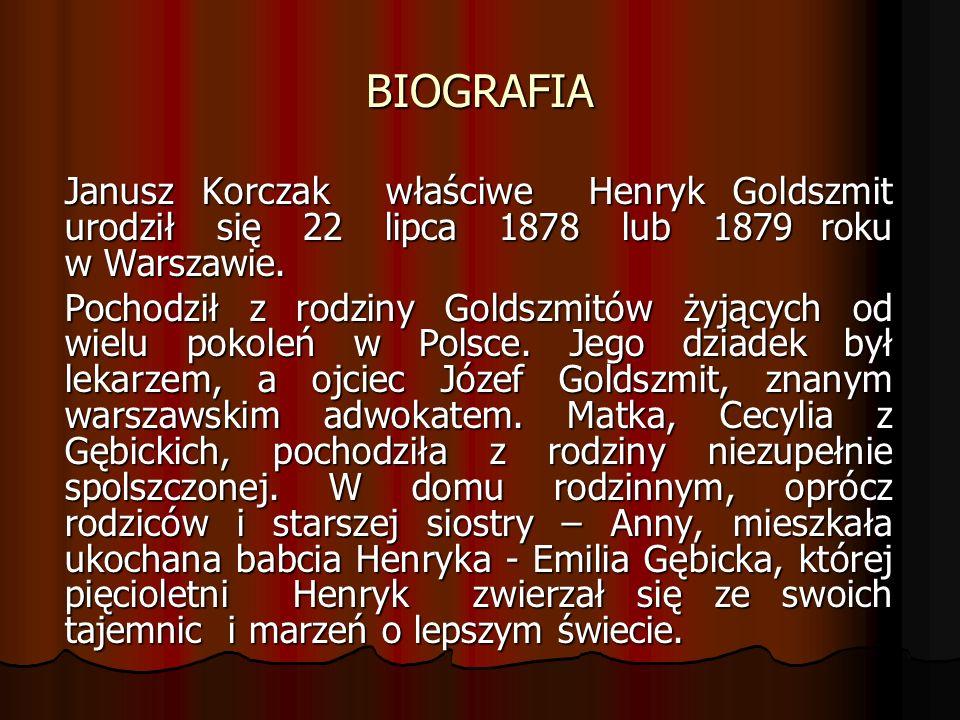 BIOGRAFIA Janusz Korczak właściwe Henryk Goldszmit urodził się 22 lipca 1878 lub 1879 roku w Warszawie.