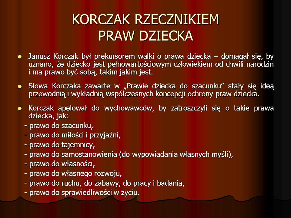 KORCZAK RZECZNIKIEM PRAW DZIECKA Janusz Korczak był prekursorem walki o prawa dziecka – domagał się, by uznano, że dziecko jest pełnowartościowym człowiekiem od chwili narodzin i ma prawo być sobą, takim jakim jest.