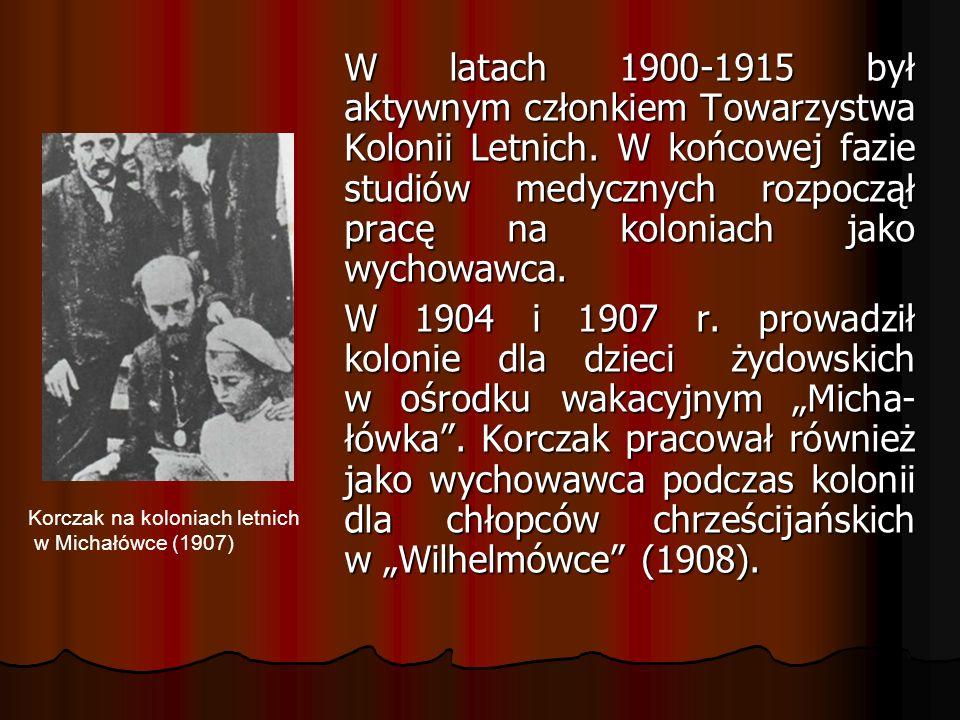 W latach 1900-1915 był aktywnym członkiem Towarzystwa Kolonii Letnich.