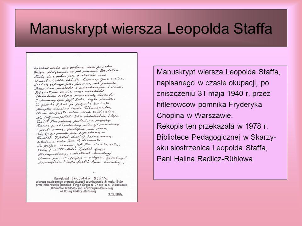 Ogólnopolski Turniej Recytatorski im.Leopolda Staffa Od 1972 r.