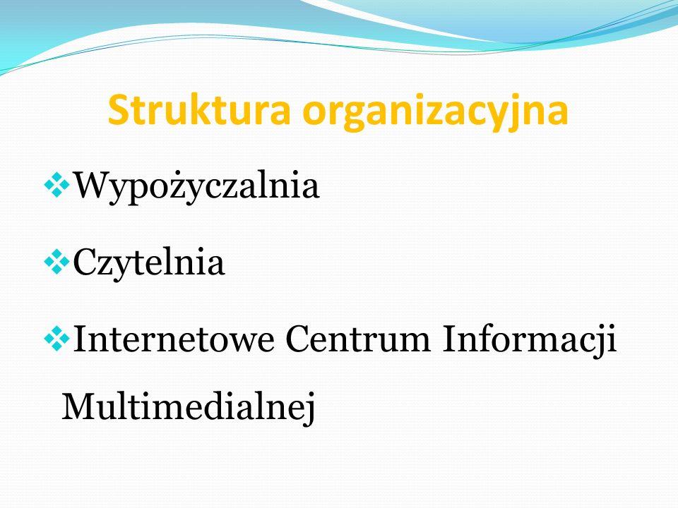 Struktura organizacyjna Wypożyczalnia Czytelnia Internetowe Centrum Informacji Multimedialnej