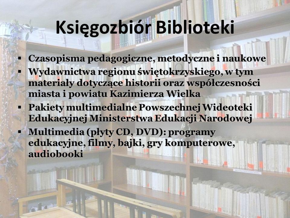 Działalność Biblioteki Wypożyczanie książek, zbiorów audiowizualnych Wypożyczanie książek, zbiorów audiowizualnych Udostępnianie czasopism, zbiorów ze wszystkich dziedzin wiedzy, programów nauczania Udostępnianie czasopism, zbiorów ze wszystkich dziedzin wiedzy, programów nauczania Sprowadzanie materiałów, których brak w zbiorach własnych z innych bibliotek krajowych w ramach wypożyczalni międzybibliotecznej Sprowadzanie materiałów, których brak w zbiorach własnych z innych bibliotek krajowych w ramach wypożyczalni międzybibliotecznej Informowanie o zasobach zbiorów, źródłach informacyjno – bibliograficznych, formach działalności Biblioteki Informowanie o zasobach zbiorów, źródłach informacyjno – bibliograficznych, formach działalności Biblioteki Udzielanie porad bibliotecznych i bibliograficznych, konsultacji metodycznych Udzielanie porad bibliotecznych i bibliograficznych, konsultacji metodycznych