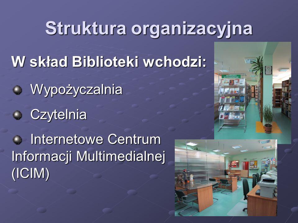 Struktura organizacyjna W skład Biblioteki wchodzi: Wypożyczalnia Wypożyczalnia Czytelnia Czytelnia Internetowe Centrum Informacji Multimedialnej (ICI