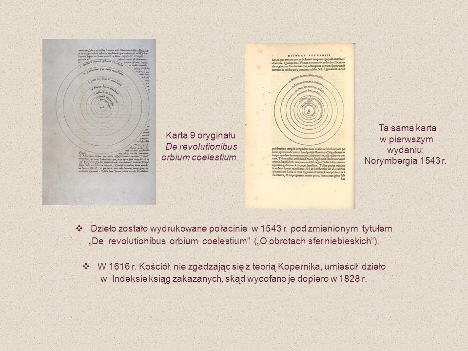 Dzieło zostało wydrukowane po łacinie w 1543 r. pod zmienionym tytułem De revolutionibus orbium coelestium (O obrotach sfer niebieskich). W 1616 r. Ko