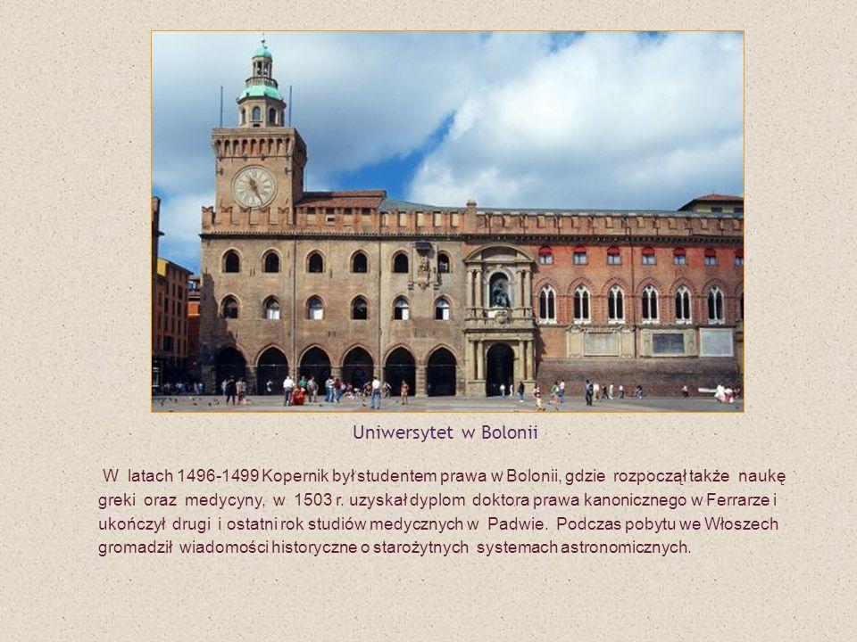 W latach 1496-1499 Kopernik był studentem prawa w Bolonii, gdzie rozpoczął także naukę greki oraz medycyny, w 1503 r. uzyskał dyplom doktora prawa kan