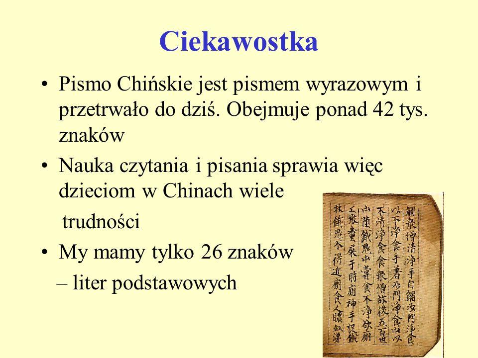 Ciekawostka Pismo Chińskie jest pismem wyrazowym i przetrwało do dziś. Obejmuje ponad 42 tys. znaków Nauka czytania i pisania sprawia więc dzieciom w