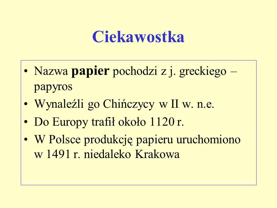 Ciekawostka Nazwa papier pochodzi z j. greckiego – papyros Wynaleźli go Chińczycy w II w. n.e. Do Europy trafił około 1120 r. W Polsce produkcję papie