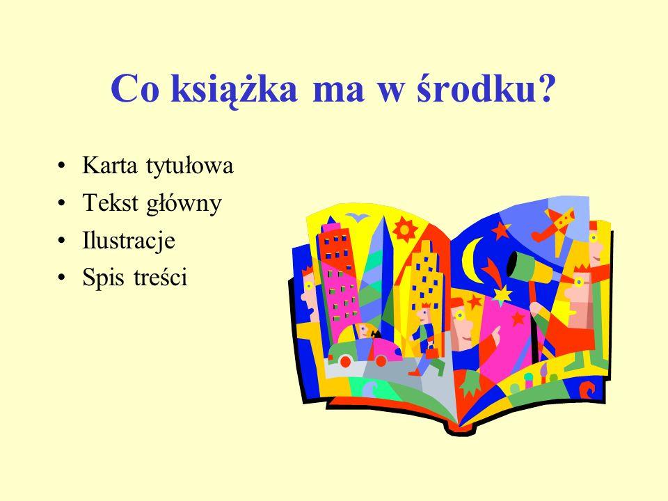 Co książka ma w środku? Karta tytułowa Tekst główny Ilustracje Spis treści