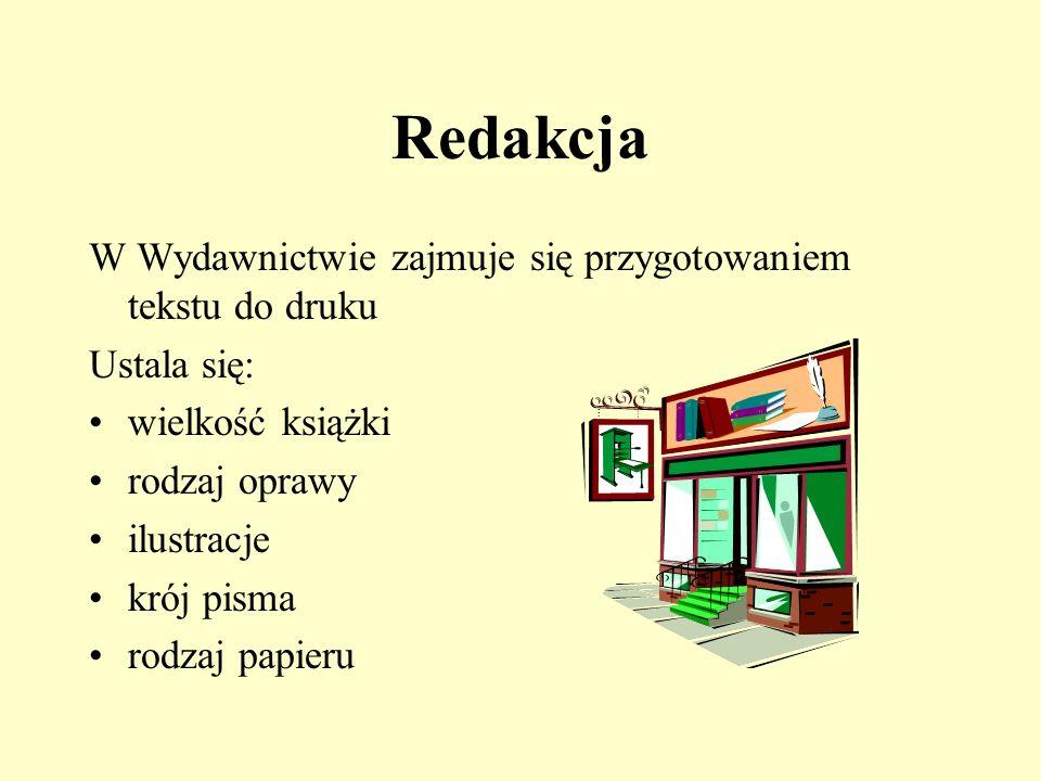 Opracowanie plastyczne Grafik - projektuje okładkę -rozmieszcza ilustracje w tekście Ilustrator -uważnie czyta tekst i wykonuje do niego szkice ilustracji