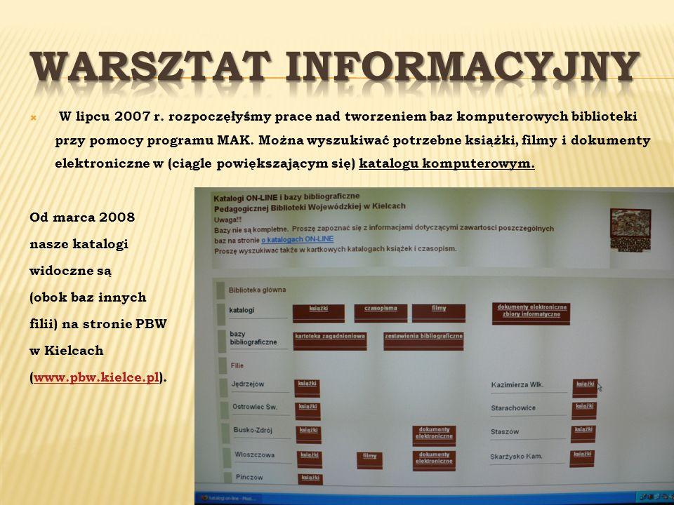 W lipcu 2007 r. rozpoczęłyśmy prace nad tworzeniem baz komputerowych biblioteki przy pomocy programu MAK. Można wyszukiwać potrzebne książki, filmy i