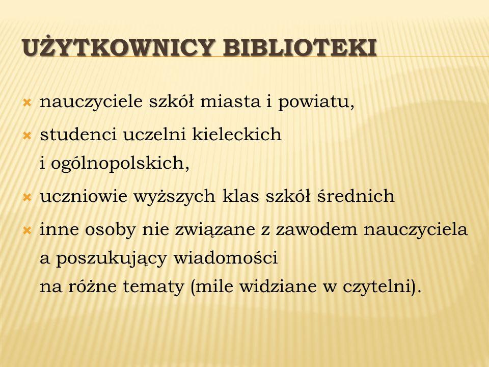 UŻYTKOWNICY BIBLIOTEKI nauczyciele szkół miasta i powiatu, studenci uczelni kieleckich i ogólnopolskich, uczniowie wyższych klas szkół średnich inne o
