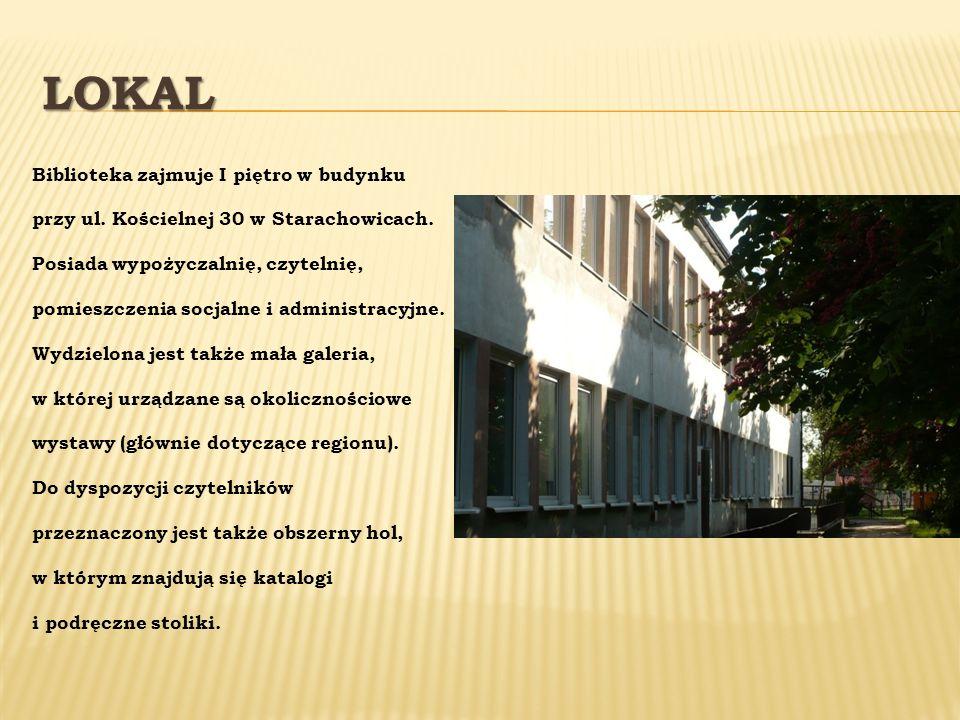 LOKAL Biblioteka zajmuje I piętro w budynku przy ul. Kościelnej 30 w Starachowicach. Posiada wypożyczalnię, czytelnię, pomieszczenia socjalne i admini