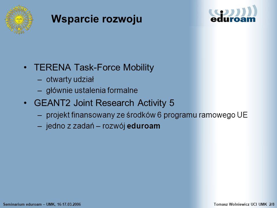 Seminarium eduroam – UMK, 16-17.03.2006Tomasz Wolniewicz UCI UMK2/8 Wsparcie rozwoju TERENA Task-Force Mobility –otwarty udział –głównie ustalenia for