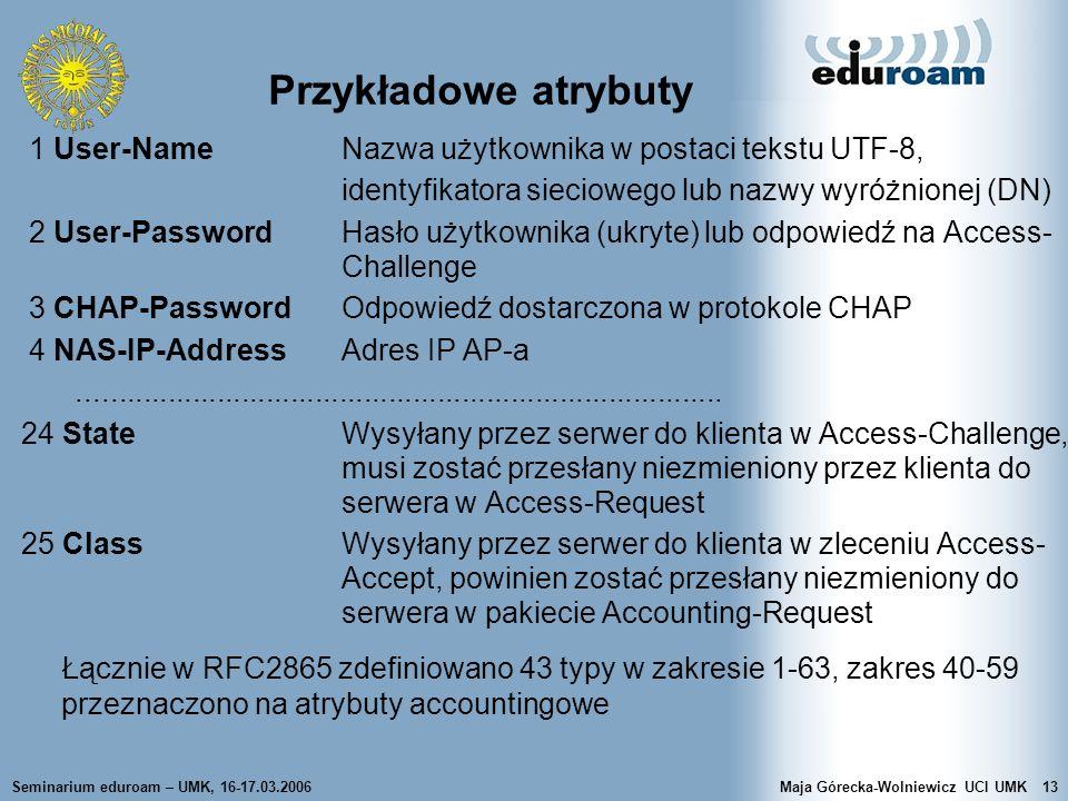 Seminarium eduroam – UMK, 16-17.03.2006Maja Górecka-Wolniewicz UCI UMK13 Przykładowe atrybuty 1 User-Name Nazwa użytkownika w postaci tekstu UTF-8, id