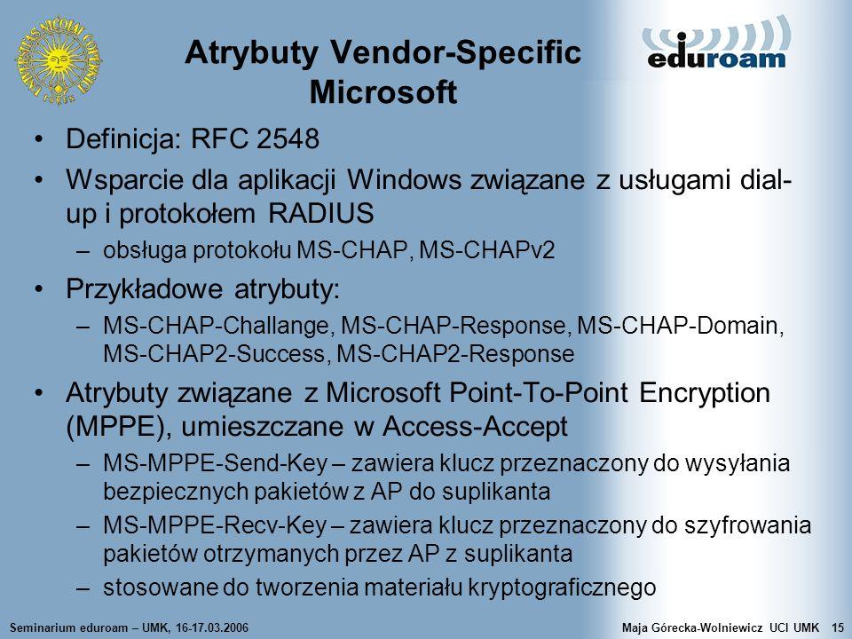 Seminarium eduroam – UMK, 16-17.03.2006Maja Górecka-Wolniewicz UCI UMK15 Atrybuty Vendor-Specific Microsoft Definicja: RFC 2548 Wsparcie dla aplikacji