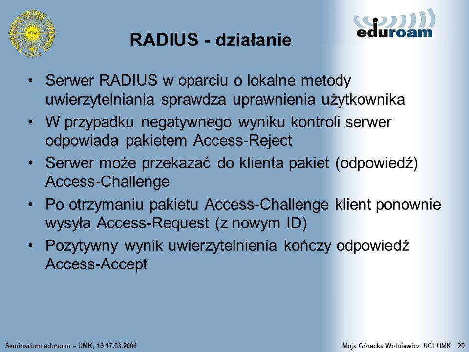Seminarium eduroam – UMK, 16-17.03.2006Maja Górecka-Wolniewicz UCI UMK20 RADIUS - działanie Serwer RADIUS w oparciu o lokalne metody uwierzytelniania