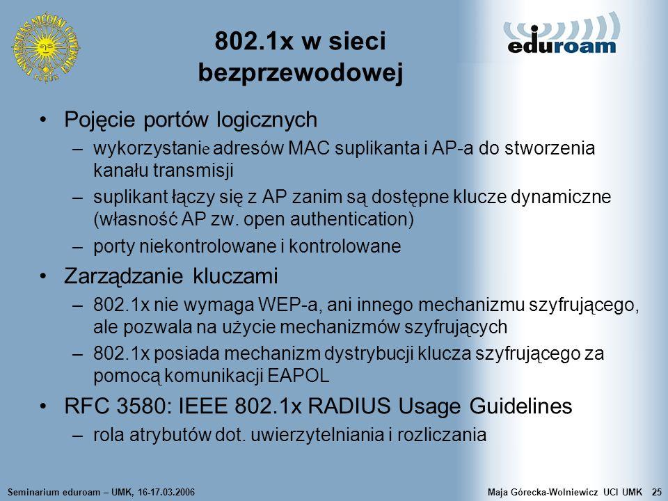 Seminarium eduroam – UMK, 16-17.03.2006Maja Górecka-Wolniewicz UCI UMK25 802.1x w sieci bezprzewodowej Pojęcie portów logicznych –wykorzystani e adres