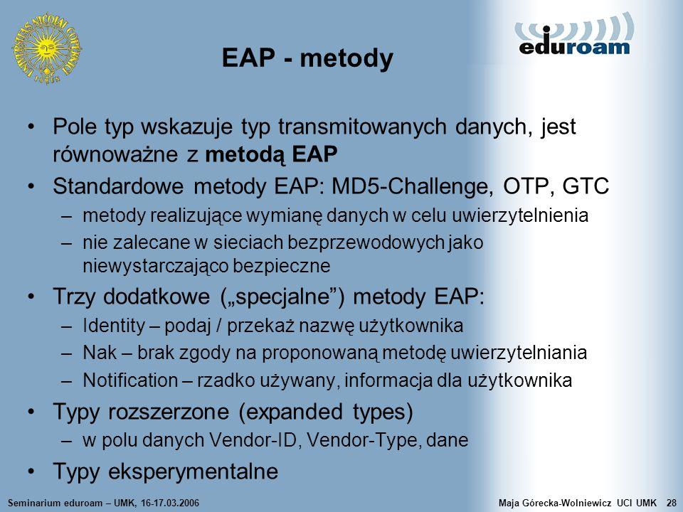 Seminarium eduroam – UMK, 16-17.03.2006Maja Górecka-Wolniewicz UCI UMK28 EAP - metody Pole typ wskazuje typ transmitowanych danych, jest równoważne z