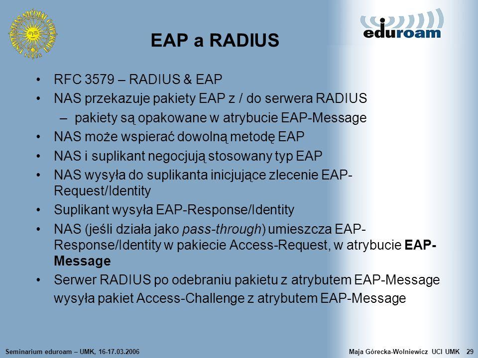 Seminarium eduroam – UMK, 16-17.03.2006Maja Górecka-Wolniewicz UCI UMK29 EAP a RADIUS RFC 3579 – RADIUS & EAP NAS przekazuje pakiety EAP z / do serwer