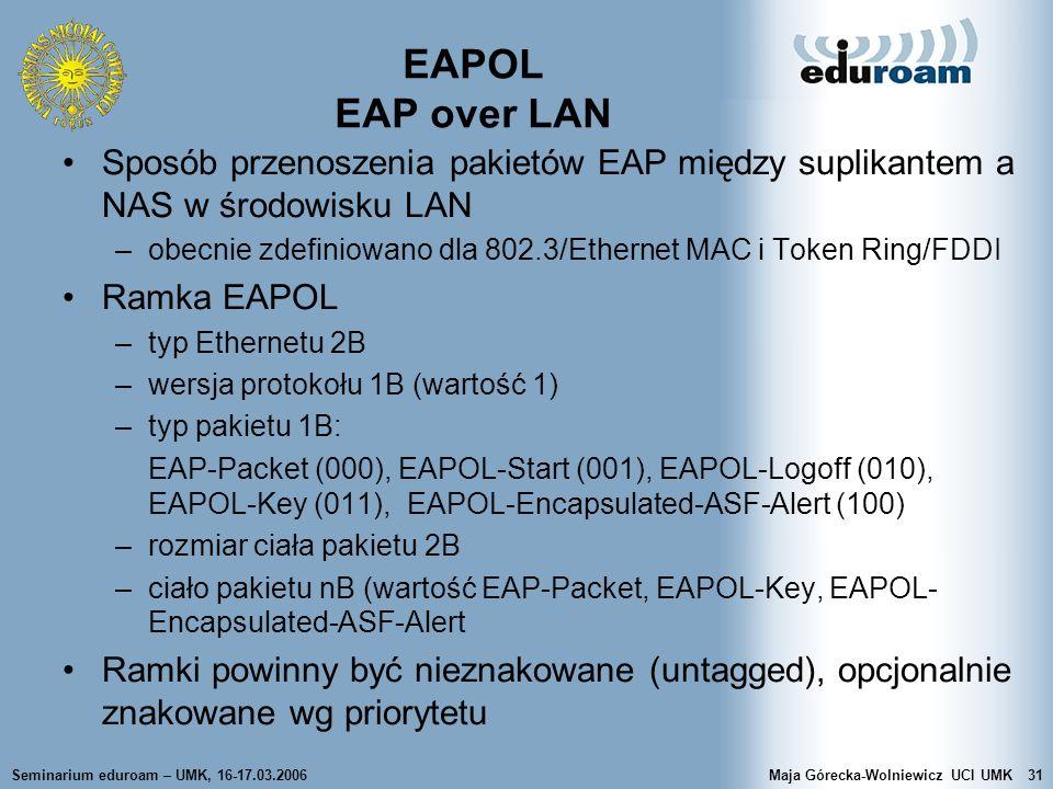 Seminarium eduroam – UMK, 16-17.03.2006Maja Górecka-Wolniewicz UCI UMK31 EAPOL EAP over LAN Sposób przenoszenia pakietów EAP między suplikantem a NAS