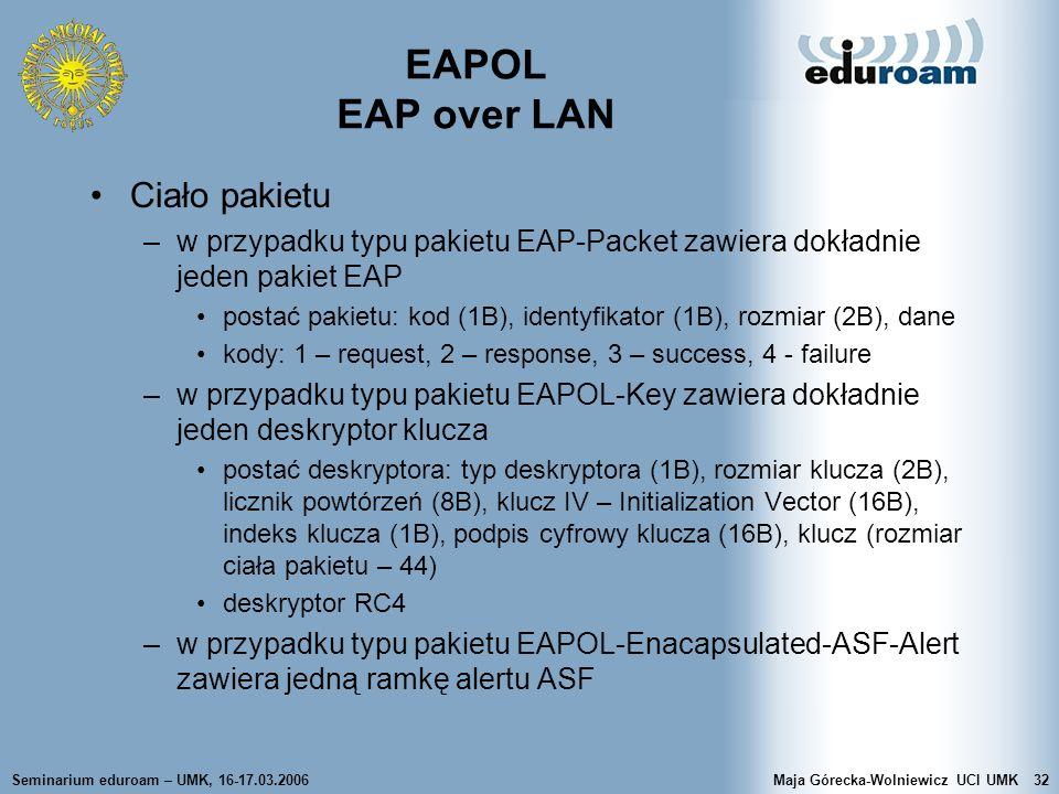 Seminarium eduroam – UMK, 16-17.03.2006Maja Górecka-Wolniewicz UCI UMK32 EAPOL EAP over LAN Ciało pakietu –w przypadku typu pakietu EAP-Packet zawiera