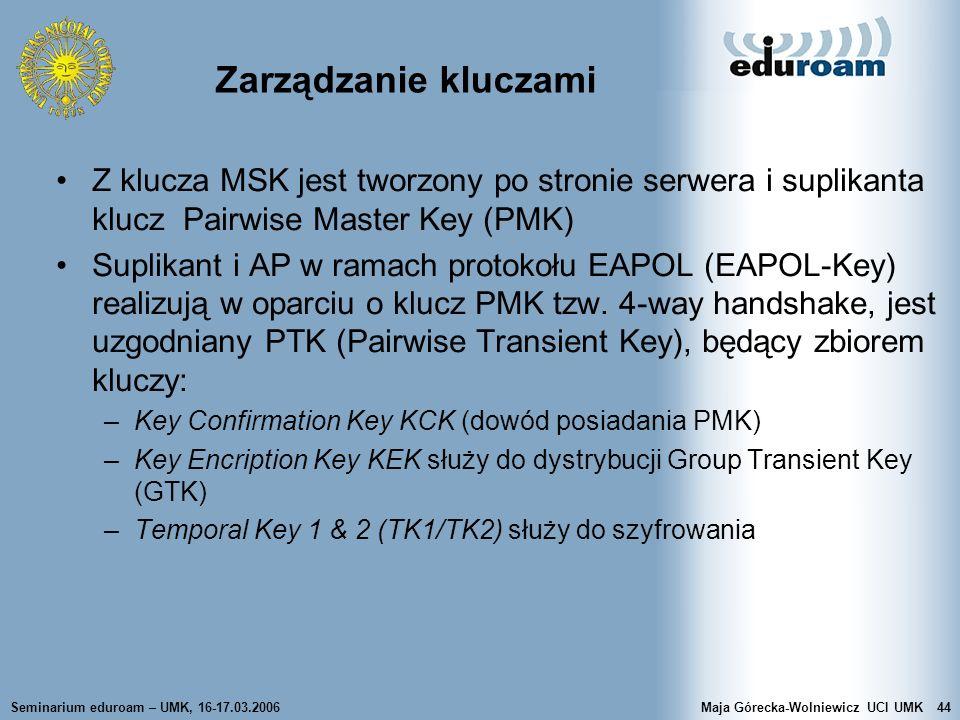 Seminarium eduroam – UMK, 16-17.03.2006Maja Górecka-Wolniewicz UCI UMK44 Zarządzanie kluczami Z klucza MSK jest tworzony po stronie serwera i suplikan