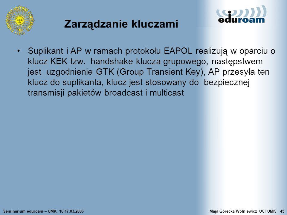 Seminarium eduroam – UMK, 16-17.03.2006Maja Górecka-Wolniewicz UCI UMK45 Zarządzanie kluczami Suplikant i AP w ramach protokołu EAPOL realizują w opar
