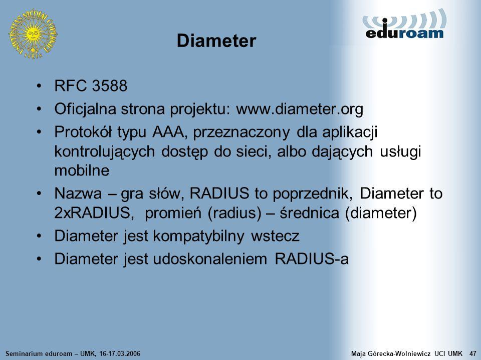 Seminarium eduroam – UMK, 16-17.03.2006Maja Górecka-Wolniewicz UCI UMK47 Diameter RFC 3588 Oficjalna strona projektu: www.diameter.org Protokół typu A