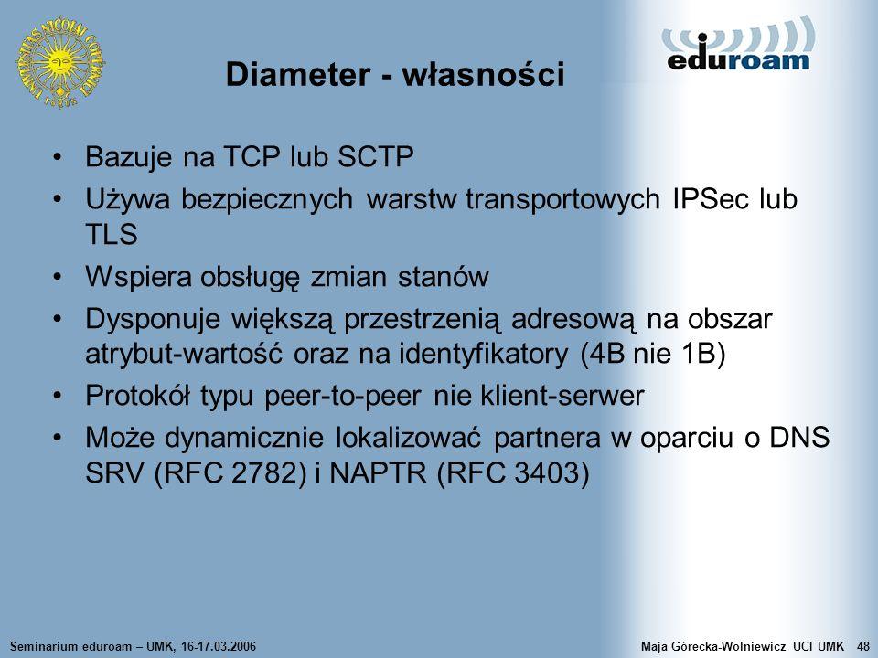 Seminarium eduroam – UMK, 16-17.03.2006Maja Górecka-Wolniewicz UCI UMK48 Diameter - własności Bazuje na TCP lub SCTP Używa bezpiecznych warstw transpo