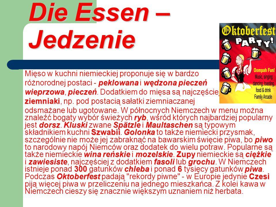 Die Essen – Jedzenie Mięso w kuchni niemieckiej proponuje się w bardzo peklowanawędzona pieczeń różnorodnej postaci - peklowana i wędzona pieczeń wiep