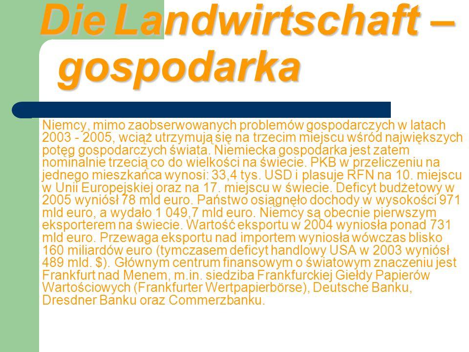 Die Industrie – Przemysł przemysł elektromaszynowy rafineryjnyenergetycznyhutniczychemiczny odzieżowegooptyki zaawansowanych technologiiprzemysł chemiczny motoryzacja HamburgaHannoweruSalzgitterSaarbrückenFrankfurtunad MenemStuttgartuMonachium Zagłębiach SaskimŁużyckimBerlina LipskaChemnitzDrezna zamknięcie 2012 20049 kopalń 42 000 osób Do najlepiej rozwiniętych gałęzi przemysłu należą: przemysł elektromaszynowy, rafineryjny, energetyczny, hutniczy i chemiczny.