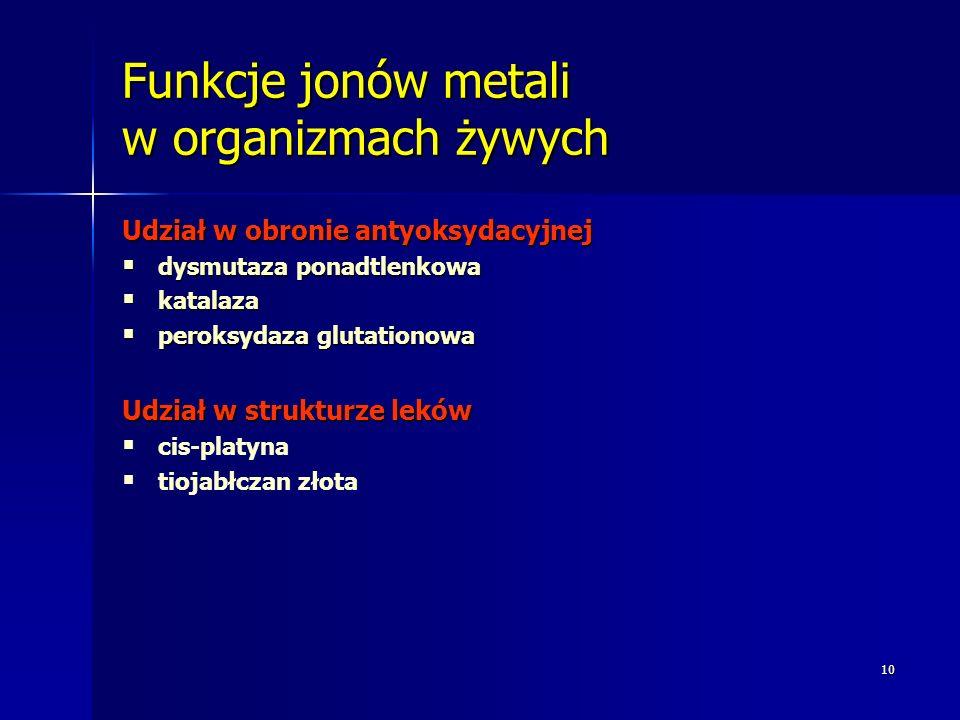 10 Funkcje jonów metali w organizmach żywych Udział w obronie antyoksydacyjnej dysmutaza ponadtlenkowa dysmutaza ponadtlenkowa katalaza katalaza perok