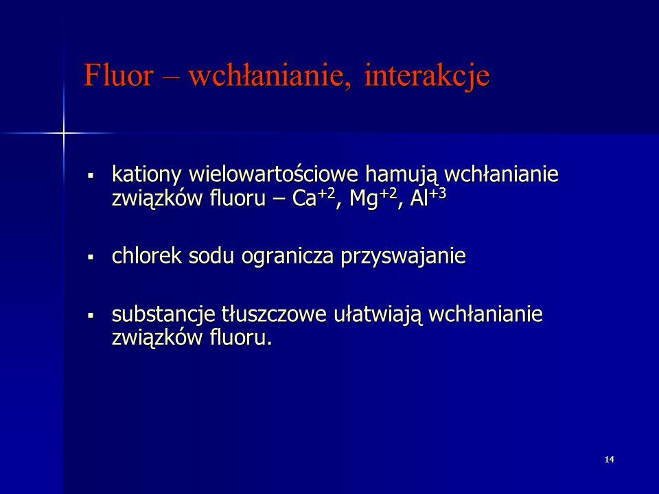 14 Fluor – wchłanianie, interakcje kationy wielowartościowe hamują wchłanianie związków fluoru – Ca +2, Mg +2, Al +3 kationy wielowartościowe hamują wchłanianie związków fluoru – Ca +2, Mg +2, Al +3 chlorek sodu ogranicza przyswajanie chlorek sodu ogranicza przyswajanie substancje tłuszczowe ułatwiają wchłanianie związków fluoru.