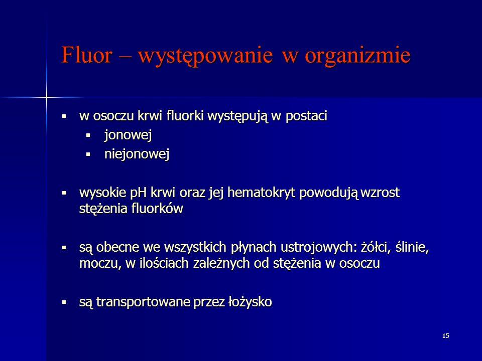 15 Fluor – występowanie w organizmie w osoczu krwi fluorki występują w postaci w osoczu krwi fluorki występują w postaci jonowej jonowej niejonowej niejonowej wysokie pH krwi oraz jej hematokryt powodują wzrost stężenia fluorków wysokie pH krwi oraz jej hematokryt powodują wzrost stężenia fluorków są obecne we wszystkich płynach ustrojowych: żółci, ślinie, moczu, w ilościach zależnych od stężenia w osoczu są obecne we wszystkich płynach ustrojowych: żółci, ślinie, moczu, w ilościach zależnych od stężenia w osoczu są transportowane przez łożysko są transportowane przez łożysko