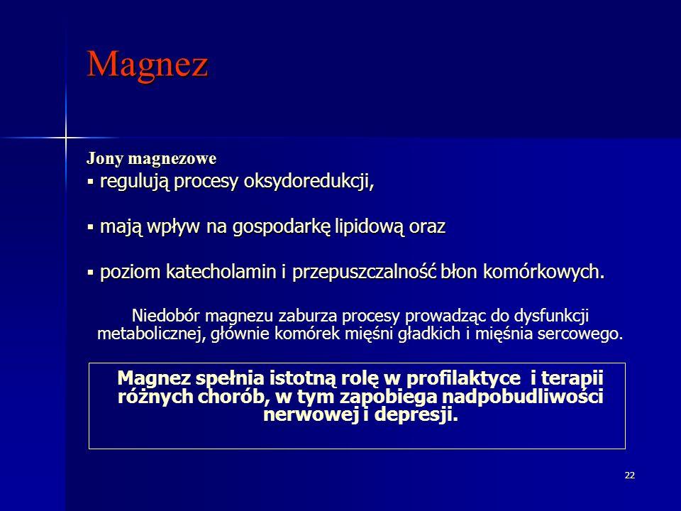 22 Magnez Jony magnezowe regulują procesy oksydoredukcji, regulują procesy oksydoredukcji, mają wpływ na gospodarkę lipidową oraz mają wpływ na gospod