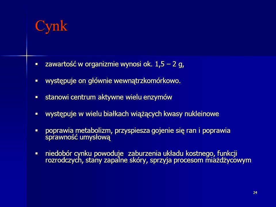 24 Cynk zawartość w organizmie wynosi ok. 1,5 – 2 g, zawartość w organizmie wynosi ok. 1,5 – 2 g, występuje on głównie wewnątrzkomórkowo. występuje on