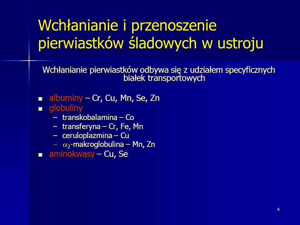 6 Wchłanianie i przenoszenie pierwiastków śladowych w ustroju Wchłanianie pierwiastków odbywa się z udziałem specyficznych białek transportowych albuminy – Cr, Cu, Mn, Se, Zn albuminy – Cr, Cu, Mn, Se, Zn globuliny globuliny –transkobalamina – Co –transferyna – Cr, Fe, Mn –ceruloplazmina – Cu 2 -makroglobulina – Mn, Zn 2 -makroglobulina – Mn, Zn aminokwasy – Cu, Se aminokwasy – Cu, Se