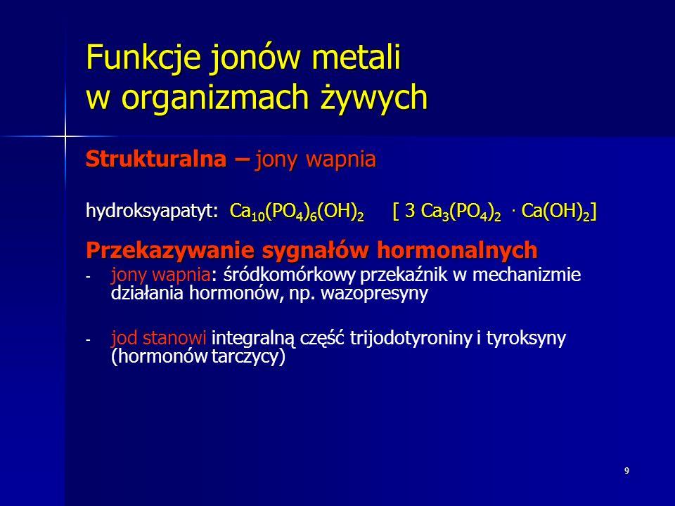 9 Funkcje jonów metali w organizmach żywych Strukturalna – jony wapnia hydroksyapatyt: Ca 10 (PO 4 ) 6 (OH) 2 [ 3 Ca 3 (PO 4 ) 2. Ca(OH) 2 ] Przekazyw