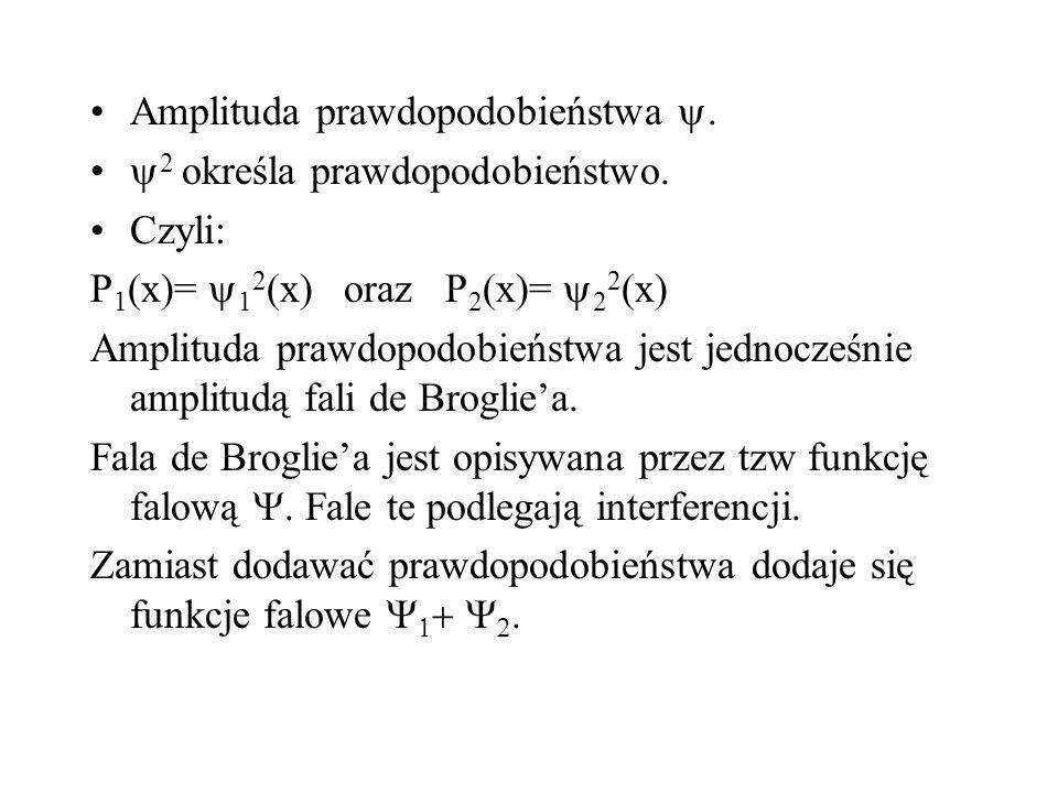 Amplituda prawdopodobieństwa. 2 określa prawdopodobieństwo. Czyli: P 1 (x)= 1 2 (x) oraz P 2 (x)= 2 2 (x) Amplituda prawdopodobieństwa jest jednocześn