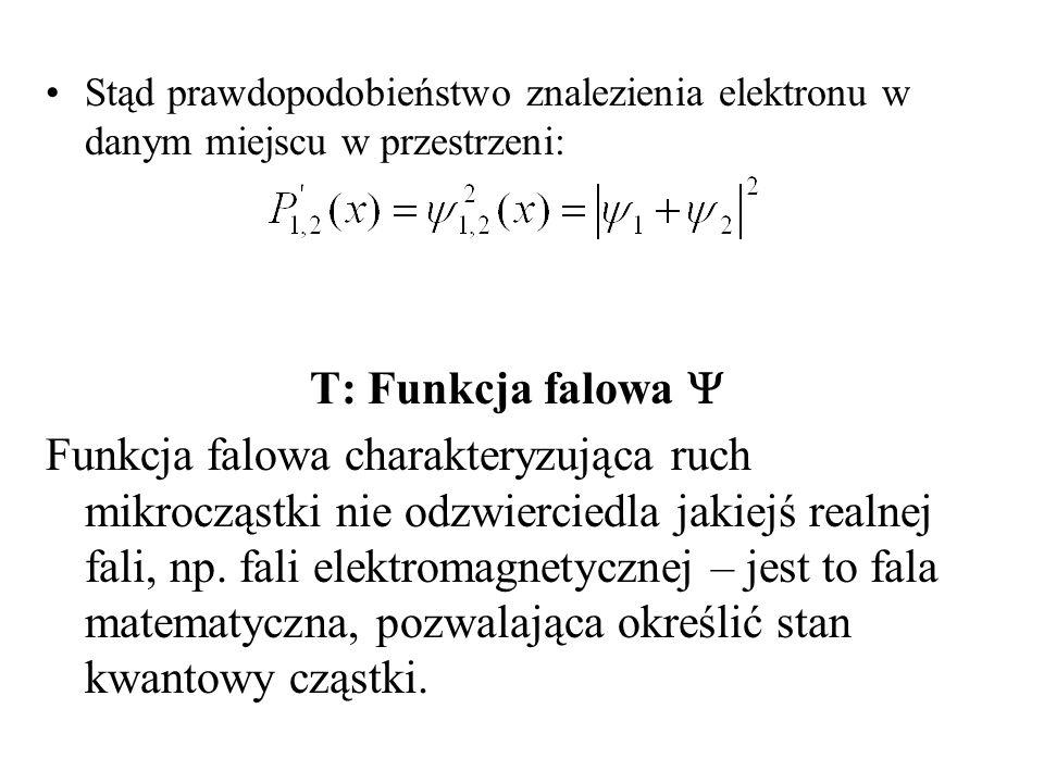 W przypadku cząstki swobodnej poruszającej się w kierunku osi x, funkcję falową możemy przedstawić w postaci fali harmonicznej: x,t sin( t-kx) Gdzie amplituda fali częstość k=2 / – tzw.