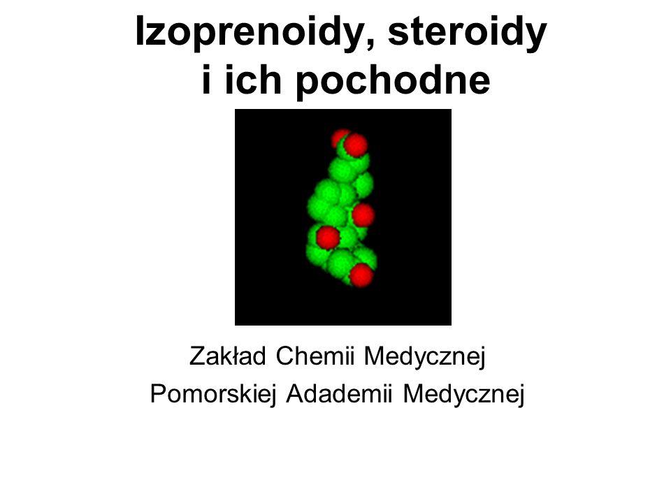 Hormony steroidowe androgeny - testosteron: odpowiada za cechy charakterystyczne dla osbników męskich działa anabolicznie w mięśniach powstają z progesteronu, z którego usuwane są atomy węgla C20 i C21 testosteron tworzy się w wyniku redukcji grupy ketonowej do hydroksylowej przy C17.