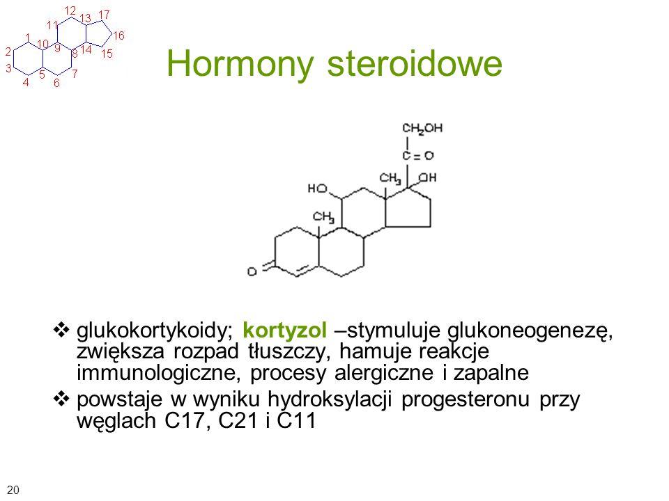 Hormony steroidowe glukokortykoidy; kortyzol –stymuluje glukoneogenezę, zwiększa rozpad tłuszczy, hamuje reakcje immunologiczne, procesy alergiczne i