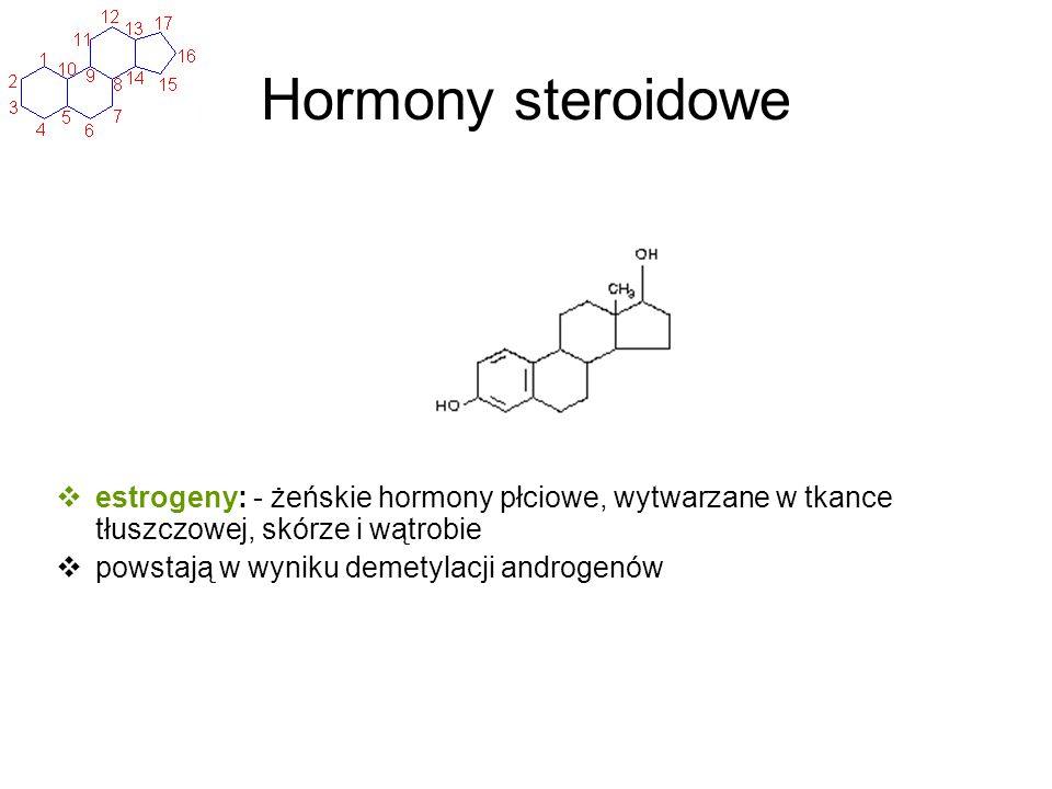 Hormony steroidowe estrogeny: - żeńskie hormony płciowe, wytwarzane w tkance tłuszczowej, skórze i wątrobie powstają w wyniku demetylacji androgenów