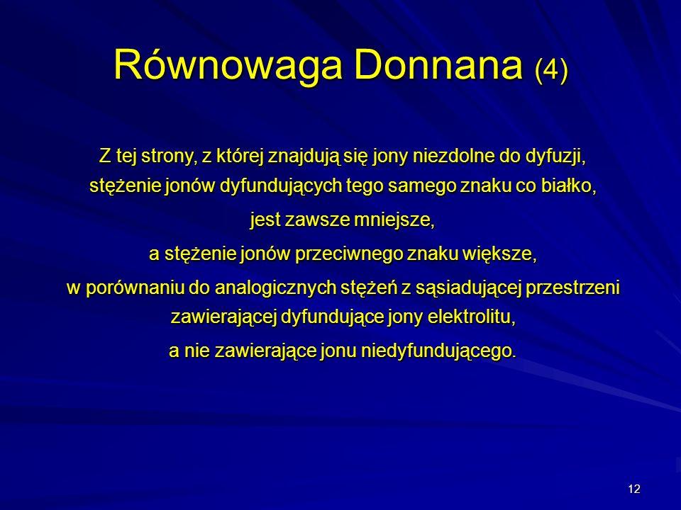 12 Równowaga Donnana (4) Z tej strony, z której znajdują się jony niezdolne do dyfuzji, stężenie jonów dyfundujących tego samego znaku co białko, jest