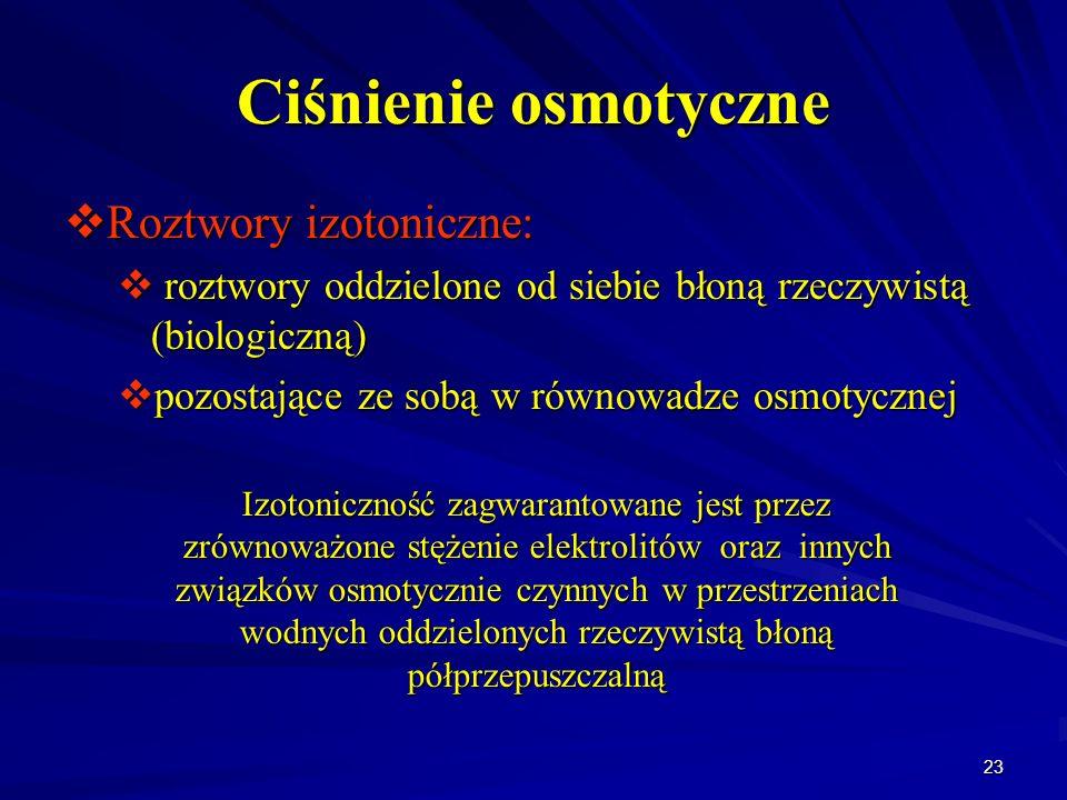 23 Ciśnienie osmotyczne Roztwory izotoniczne: Roztwory izotoniczne: roztwory oddzielone od siebie błoną rzeczywistą (biologiczną) roztwory oddzielone
