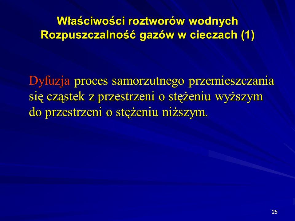 25 Właściwości roztworów wodnych Rozpuszczalność gazów w cieczach (1) Dyfuzja proces samorzutnego przemieszczania się cząstek z przestrzeni o stężeniu