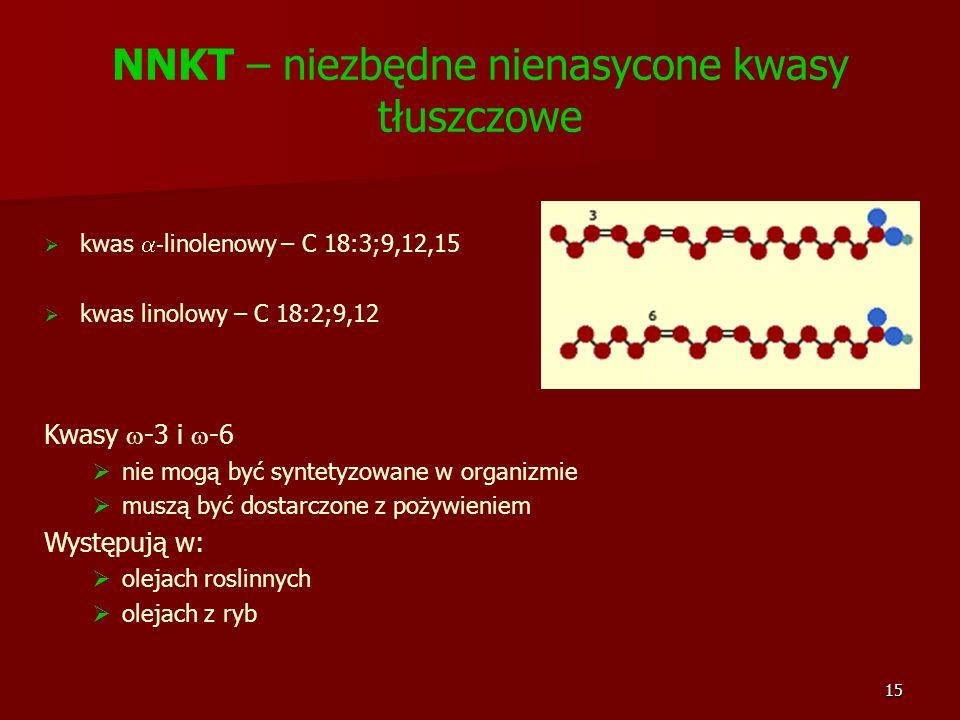 15 NNKT – niezbędne nienasycone kwasy tłuszczowe kwas - linolenowy – C 18:3;9,12,15 kwas linolowy – C 18:2;9,12 Kwasy -3 i -6 nie mogą być syntetyzowa