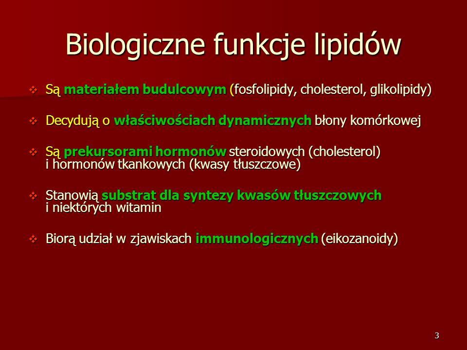 3 Biologiczne funkcje lipidów Są materiałem budulcowym (fosfolipidy, cholesterol, glikolipidy) Są materiałem budulcowym (fosfolipidy, cholesterol, gli