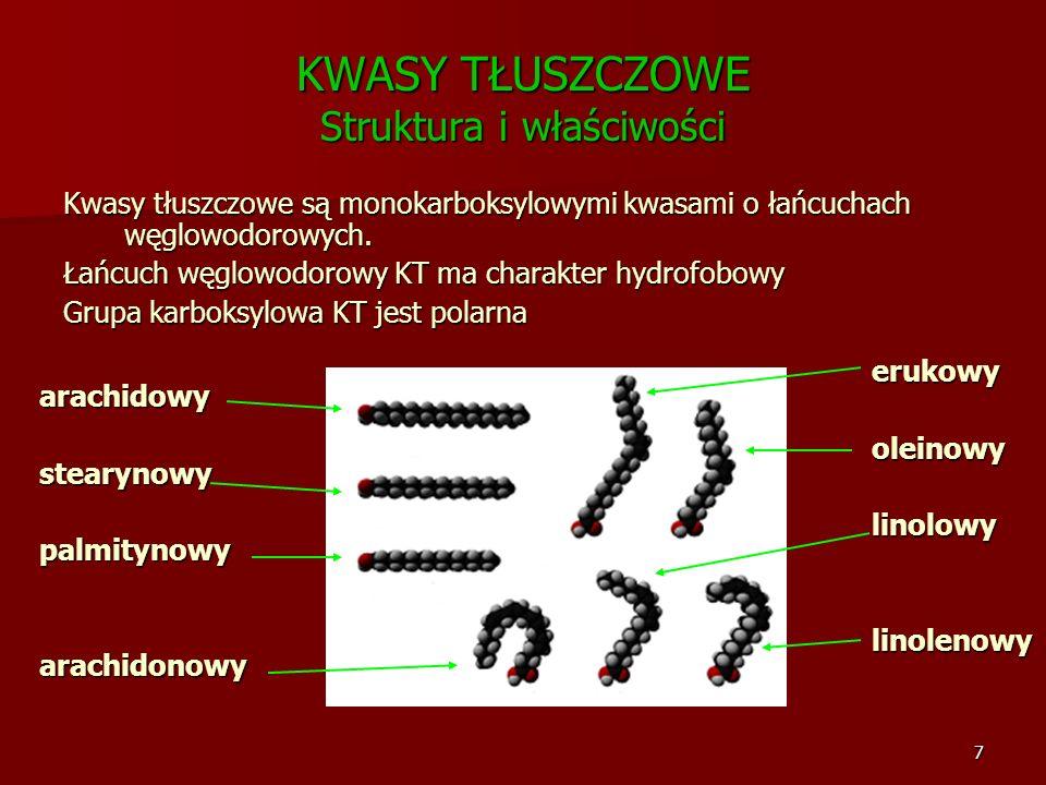 7 KWASY TŁUSZCZOWE Struktura i właściwości Kwasy tłuszczowe są monokarboksylowymi kwasami o łańcuchach węglowodorowych. Łańcuch węglowodorowy KT ma ch